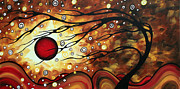 Landscape Artwork Prints - Abstract Art Original Circle Painting FLAMING DESIRE by MADART Print by Megan Duncanson
