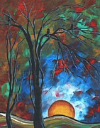 Orange Originals - Abstract Art Original Colorful Bird Painting SPRING BLOSSOMS by MADART by Megan Duncanson