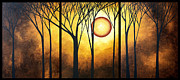 Silhouette Painting Posters - Abstract Art Original Landscape GOLDEN HALO by MADART Poster by Megan Duncanson