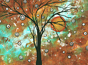 Whimsy Framed Prints - Abstract Art Original Landscape Painting Bold Circle of Life Design AUTUMNS EVE by MADART Framed Print by Megan Duncanson