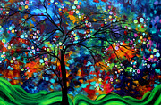 Tree Art - Abstract Art Original Landscape Painting Bold Colorful Design SHIMMER IN THE SKY by MADART by Megan Duncanson