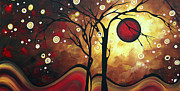 Golden Brown Painting Posters - Abstract Art Original Landscape Painting CATCH THE RISING SUN by MADART Poster by Megan Duncanson