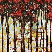 Silhouette Painting Posters - Abstract Art Original Landscape Painting Contemporary Design FOREST OF DREAMS I by MADART Poster by Megan Duncanson