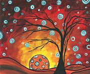 Abstract Art Original Landscape Painting Setting Sun By Madart Print by Megan Duncanson