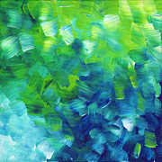 Lime Green Prints - Abstract Art Original Textured Soothing Painting SEA OF WHIMSY I by MADART Print by Megan Duncanson