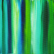 Soothing Paintings - Abstract Art Original Textured Soothing Painting SEA OF WHIMSY STRIPES I by MADART by Megan Duncanson
