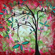 White Blossoms Paintings - Abstract Art Original Whimsical Magical Bird Painting THROUGH THE LOOKING GLASS  by Megan Duncanson