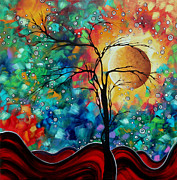 Moon Paintings - Abstract Art Original Whimsical Modern Landscape Painting BURSTING FORTH by MADART by Megan Duncanson