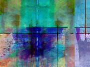 abstract - art- Rhapsody in Blue Print by Ann Powell
