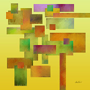 Digital Collage Posters - abstract-art- Squares Collage Three Poster by Ann Powell