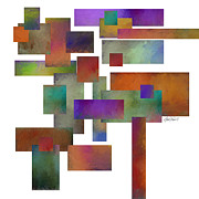 Mid Century Design Posters - abstract - art-Squares Collage Two Poster by Ann Powell