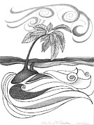 Original Pen And Ink Drawing Prints - Abstract Art Tropical Black And White Drawing Who Am I To Disagree By Romi Print by Megan Duncanson