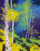 Aspen Trees Pastels Prints - Abstract Aspens Print by Dana Strotheide