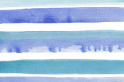 Stripe.paint Posters - Abstract blue stripes watercolor background Poster by Aleksandar Mijatovic