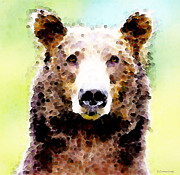 Grizzly Bear Posters - Abstract Brown Bear Art - Curious Poster by Sharon Cummings