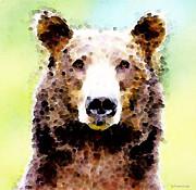 Abstract Brown Bear Art - Curious Print by Sharon Cummings