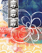 Bold Mixed Media Posters - Abstract Buddha Poster by Linda Woods