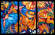 Marcia Baldwin Framed Prints - Abstract Butterflies Triptych Framed Print by Marcia Baldwin