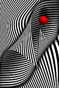 Black Lines Art - Abstract - Catch the red ball by Mike Savad