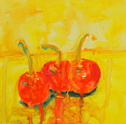 Interior Still Life Painting Metal Prints - Abstract Cherries Metal Print by Patricia Awapara
