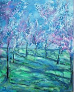 Cezanne Drawings Prints - Abstract Cherry Trees Print by Eric  Schiabor