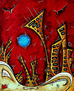 Moon Paintings - Abstract City Cityscape Art Original Painting STAND TALL by MADART by Megan Duncanson