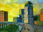 Abstract City Downtown Shreveport Louisiana Print by Lenora  De Lude