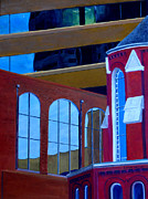 Catholic Art Painting Originals - Abstract City Downtown Shreveport Louisiana Urban Buildings and Church by Lenora  De Lude