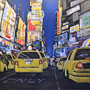 Yellow Taxis Framed Prints - Abstract City Landscape New York Street ... Times Square Framed Print by Amy Giacomelli