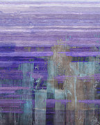 Rectangles Paintings - Abstract City Purple by Lee Ann Asch