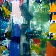 Grungy Paintings - Abstract Color Relationships lll by Michelle Calkins