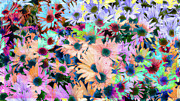 Colored Flowers Prints - Abstract Colored Flowers Print by Susan Stone