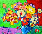 Edulescu Paintings - Abstract Colorful Flowers by Ana Maria Edulescu
