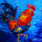 Mona Edulescu Paintings - Abstract Colorful Gallic Rooster by EMONA Art