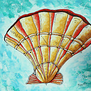 Pantone Posters - Abstract Contemporary Coastal Art Sea Shell BY THE SEASHORE by MADART Poster by Megan Duncanson