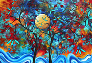 Silhouette Painting Posters - Abstract Contemporary Colorful Landscape Painting LOVERS MOON by MADART Poster by Megan Duncanson