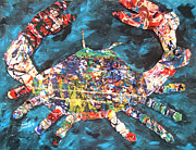 Crab Mixed Media - Abstract Crab by Mary Crochet