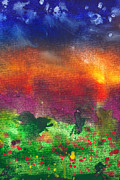Night Scenes Posters - Abstract - Crayon - Utopia Poster by Mike Savad