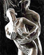 Ghostly Prints - Abstract digital artwork of a couple making love Print by Oleksiy Maksymenko