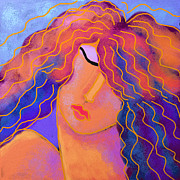 Abstract Digital Painting Of A Red Haired Woman Print by Jackie Ludtke