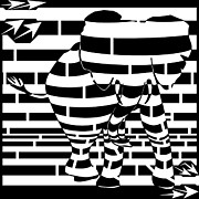 Op Art Drawings Posters - Abstract Distortion Angry Elephant Maze  Poster by Yonatan Frimer Maze Artist