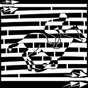 Distortion Drawings Prints - Abstract Distortion Boy On a Horse Maze  Print by Yonatan Frimer Maze Artist