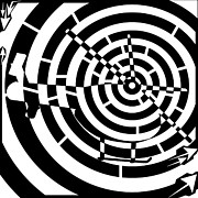 Distortion Drawings Prints - Abstract Distortion Helicopter Maze Print by Yonatan Frimer Maze Artist