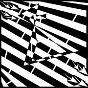 Op Art Drawings Posters - Abstract Distortion Hour-Glass Maze  Poster by Yonatan Frimer Maze Artist
