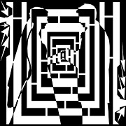 Distortion Drawings Prints - Abstract Distortion Marriage Maze  Print by Yonatan Frimer Maze Artist