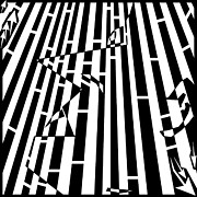 Distortion Drawings Prints - Abstract Distortion Sanguivoriphobia Maze Print by Yonatan Frimer Maze Artist