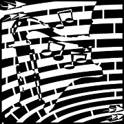 Player Drawings Posters - Abstract Distortion Sax Player Maze Poster by Yonatan Frimer Maze Artist