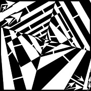 Distortion Drawings Prints - Abstract Distortion Smashed Patterns Maze  Print by Yonatan Frimer Maze Artist