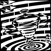 Black Top Drawings Prints - Abstract Distortion Spinning Top Maze Print by Yonatan Frimer Maze Artist