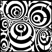 Distortion Drawings Prints - Abstract Distortion Three Spins Maze Print by Yonatan Frimer Maze Artist